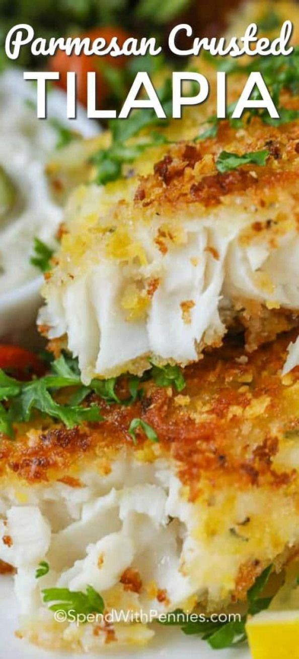 Parmesan Crusted Tilapia is easy to make! Tender tilapia filets aredipped in an egg mixture coated with parmesan seasoned panko crumbs and pan fried till golden brown.