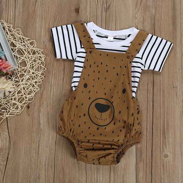 Photo of Baby 2-piece Striped Top and Bear Print Bodysuit for Baby Boy at PatPat.com