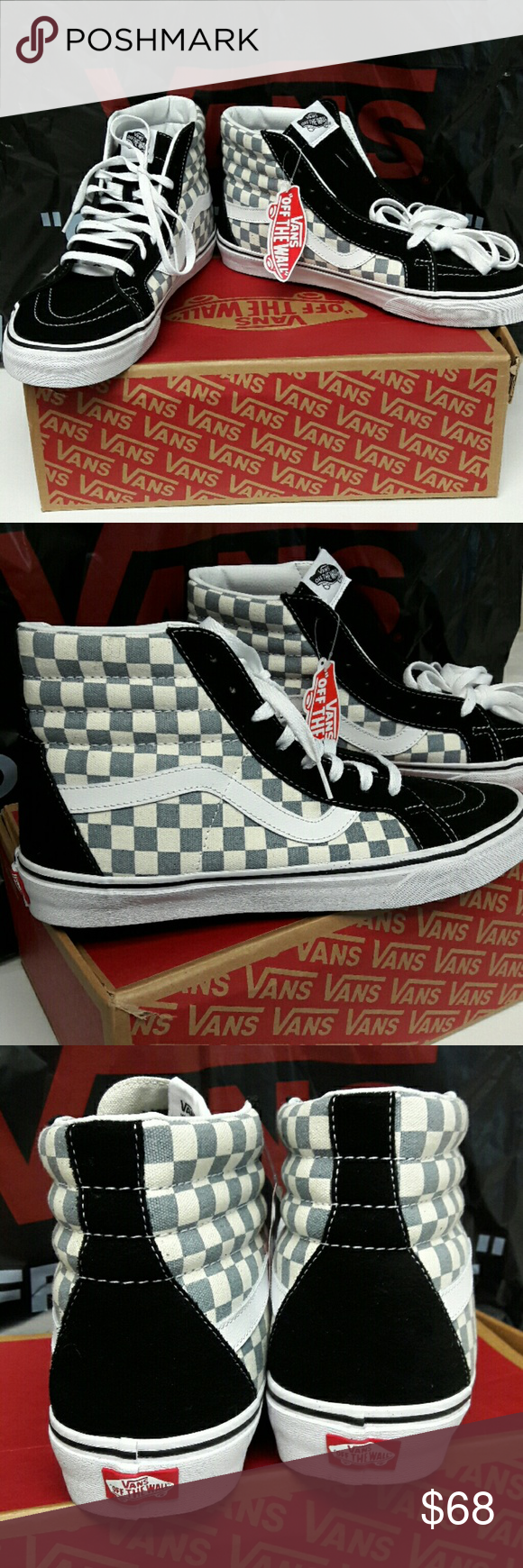 VANS SK8Hi Reissue Checkerboard Blk Citadel Brand New with Tags and Box!  Mens Vans Size 11 - black suede c858fe98fc599