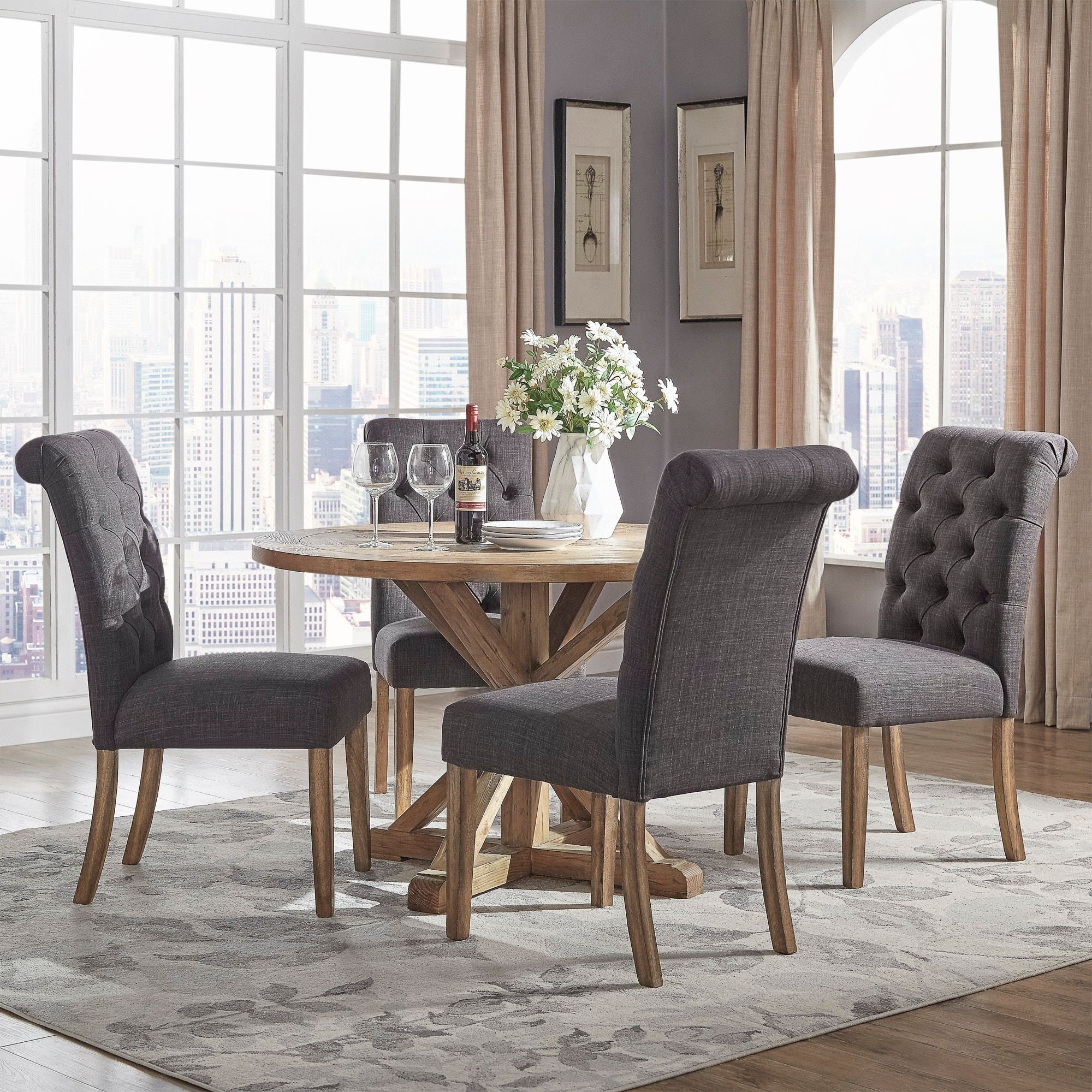 Benchwright Rustic X-base 48-inch Round Dining Table Set by iNSPIRE Q Artisan (48-Inch Round Table) Brown & Benchwright Rustic X-base 48-inch Round Dining Table Set by iNSPIRE ...