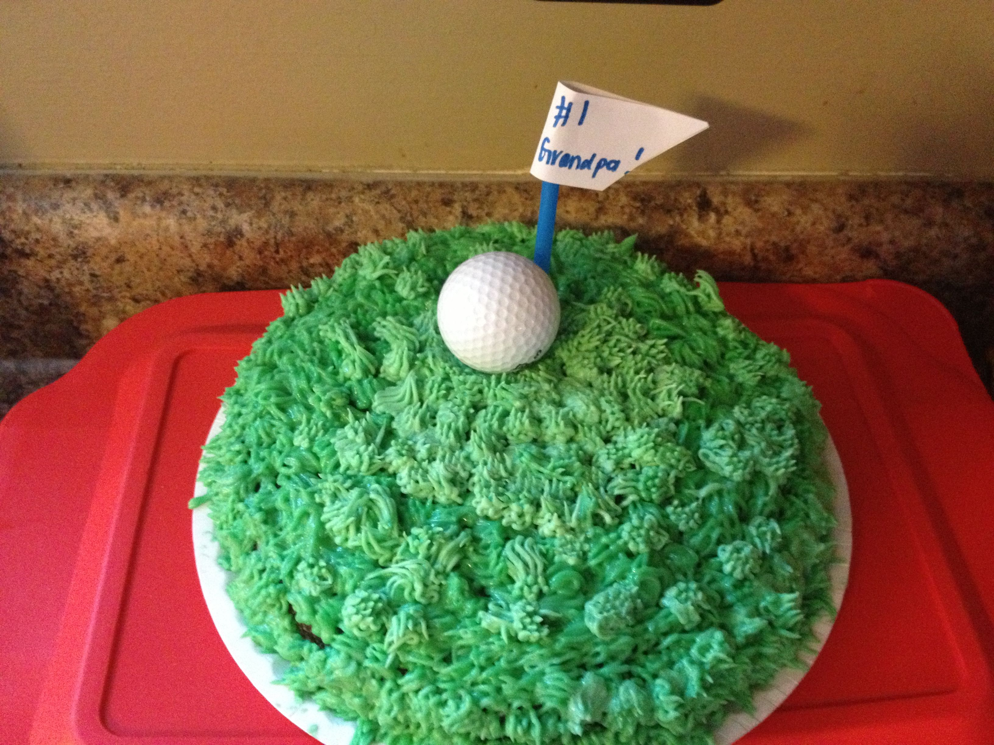 Golf cake I made for Father\'s Day!! SO EASY❗Directions - make cake ...