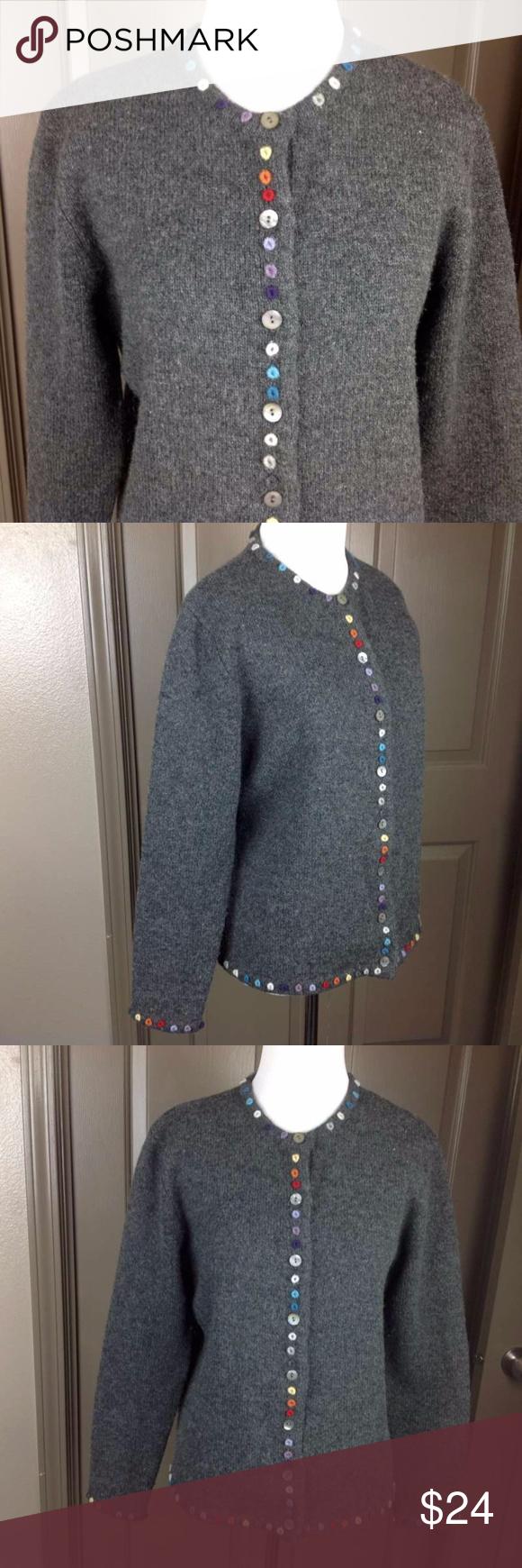 Jillian Jones Sweater Small Cardigan 100% Wool | Craft