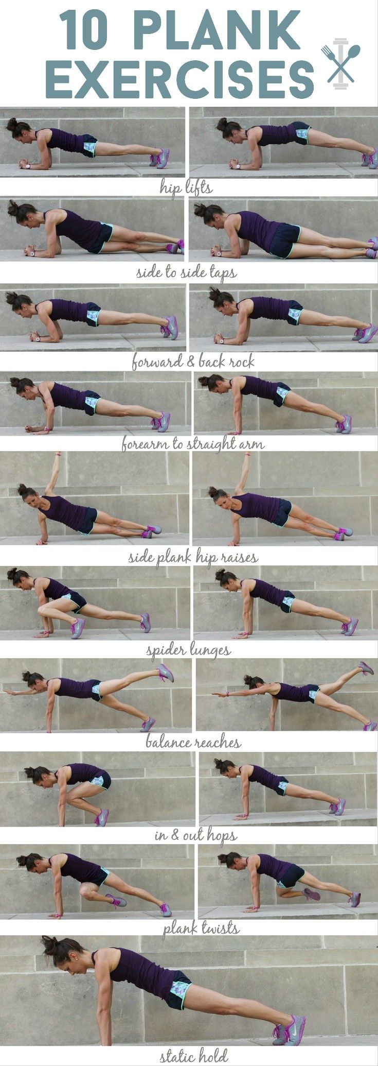 TEN different ways you can plank for a full body workout! Complete tutorial at physicalkitchness.com