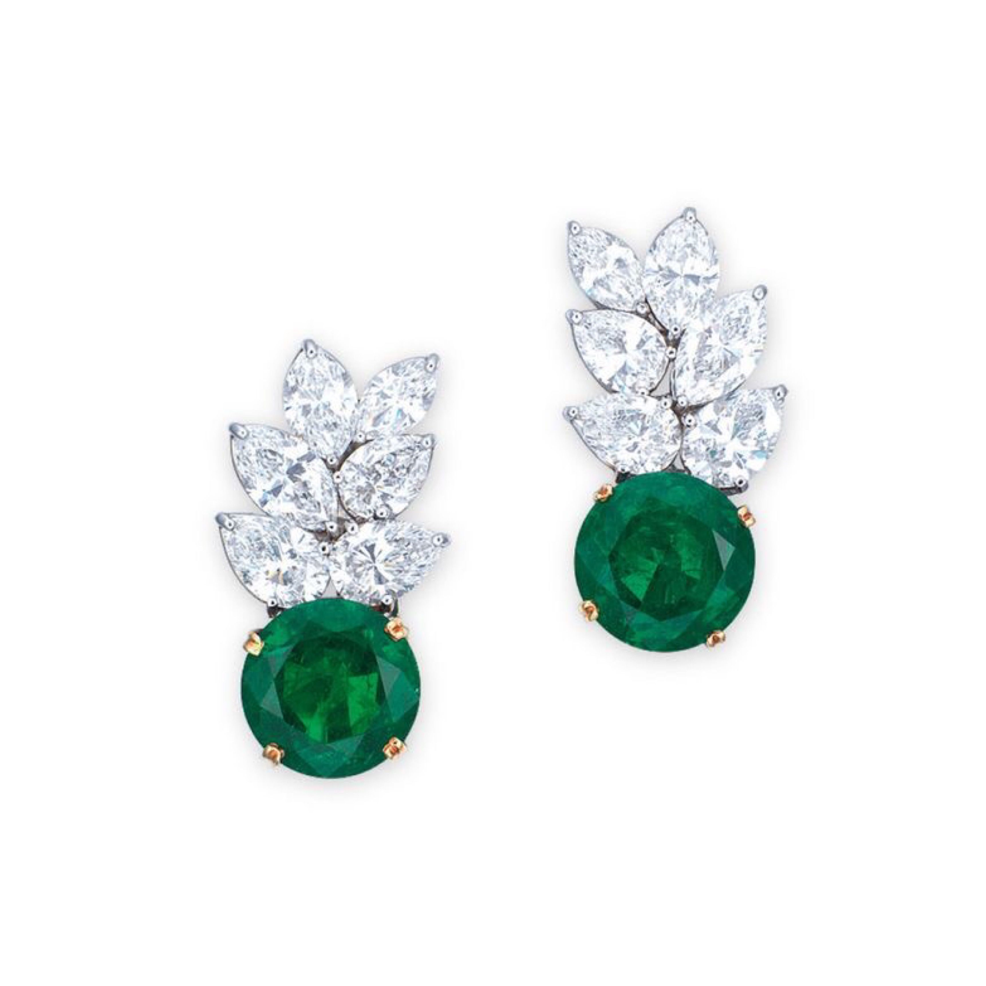 A Pair Of Emerald And Diamond Earrings By Tiffany Co Each Set With