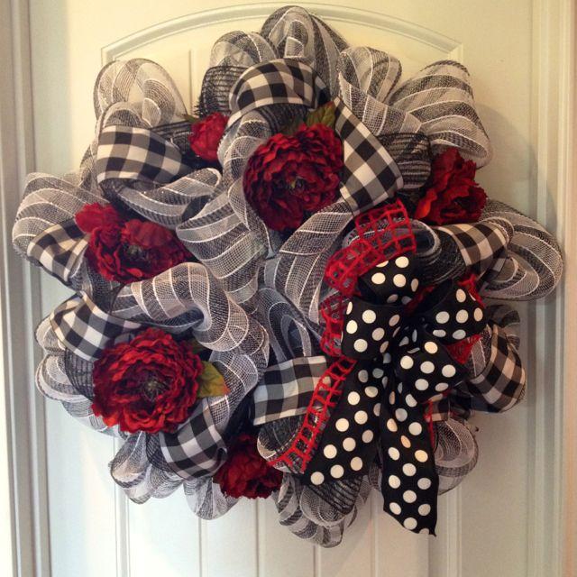 Year Round Black White Red Deco Poly Mesh Wreath Wreaths