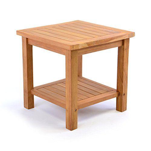 DIVERO Beistelltisch Aus Massivem Teak Holz Für Balkon Garten Terrasse  Wintergarten Braun