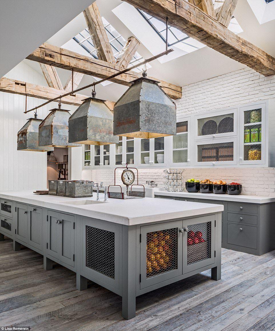 Built it dry food storage in kitchen island wood beams and skylights & Built it dry food storage in kitchen island wood beams and ...