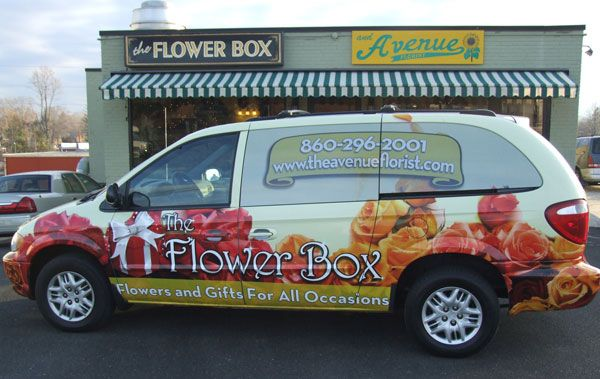 Flower Box Implements A Van Wrap As Delivery Vehicle Van Wrap Flower Boxes Vans