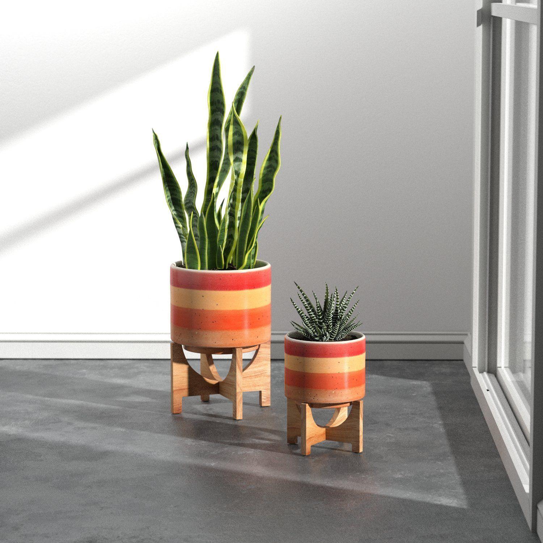Ceramic and Bamboo Planter | planters | decorative planters