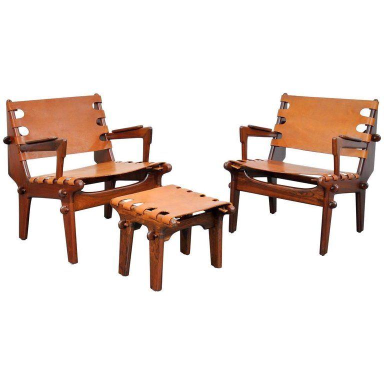 Peachy Pair Of Angel Pazmino Rosewood And Leather Sling Armchairs Spiritservingveterans Wood Chair Design Ideas Spiritservingveteransorg