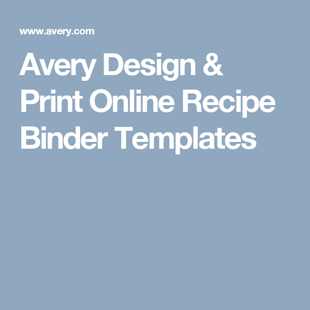 Avery Design Print Online Recipe Binder Templates Recipe Book