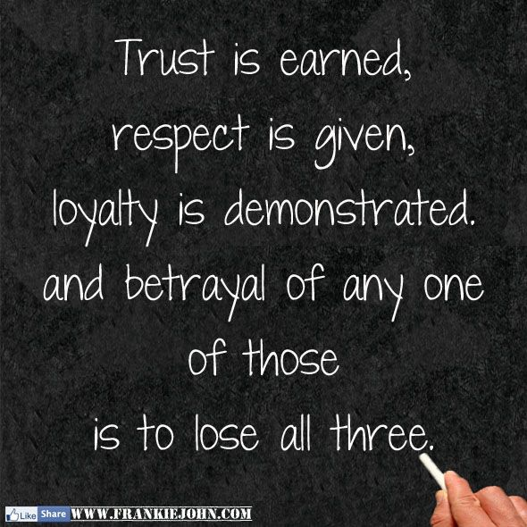 Quotes About Loyalty And Betrayal Best Trust Is Earned Respect Is Given Loyalty Is Demonstrated And