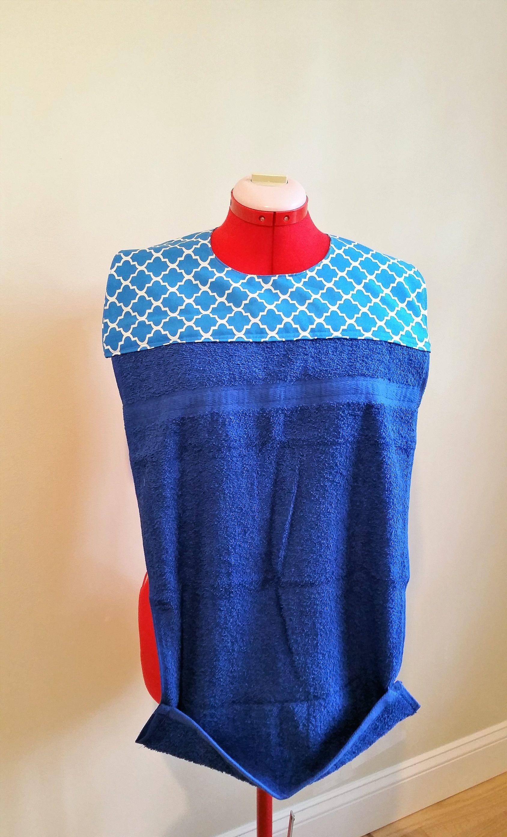 Bibs Adult Bib Hand Towel Bib Clothes Protector Pocket Bib Blue