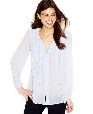 chiffon blouse blauw