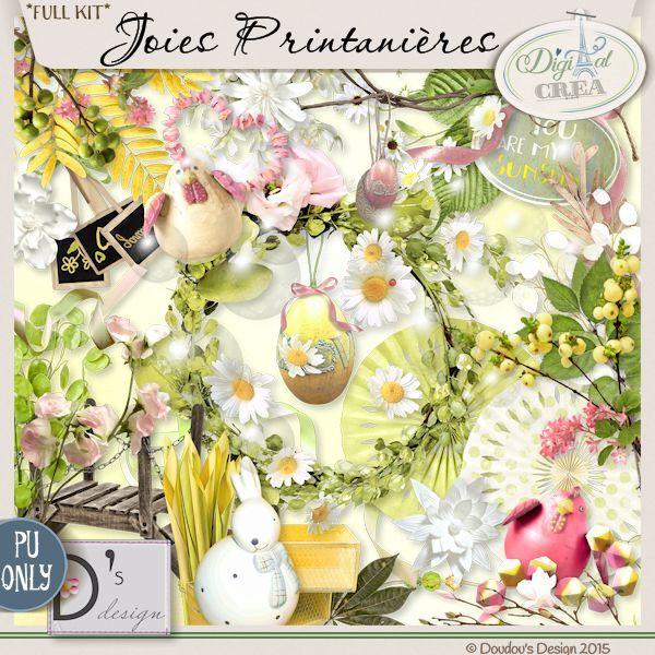 Joies Printanières - Kit by Doudou's Design    Description: An amazing  kit by Doudou's Design 12 papers 101 elements