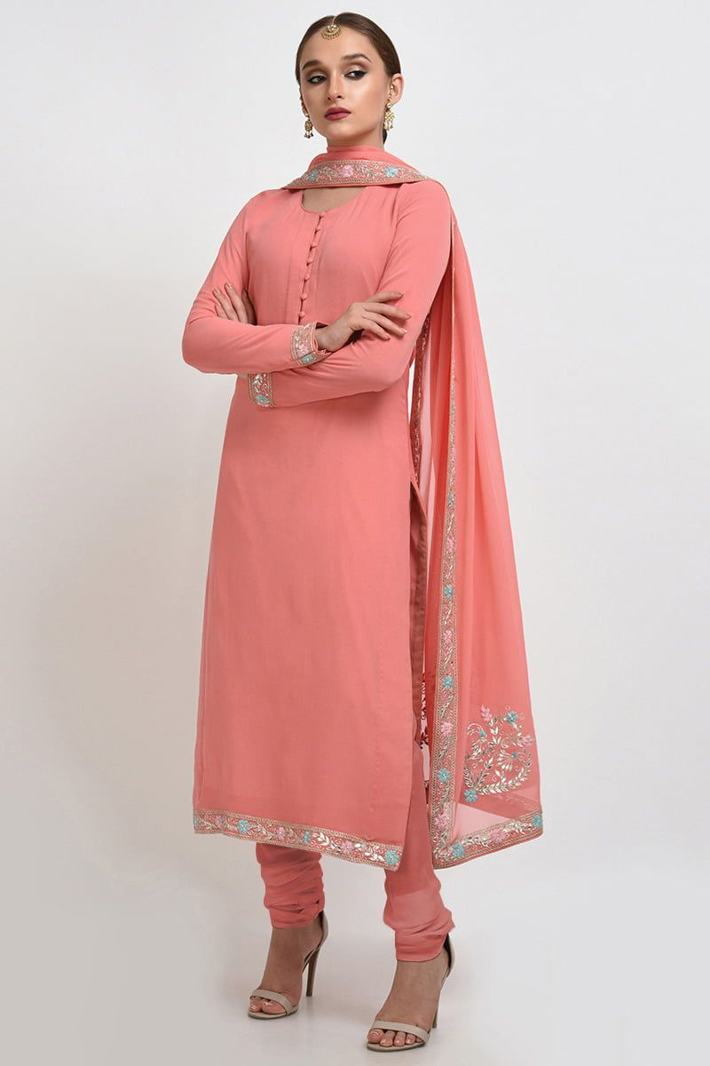 Mesdames Peach asiatique prêts 3 Pièce Costume Lin pakistanais//Indian Wear