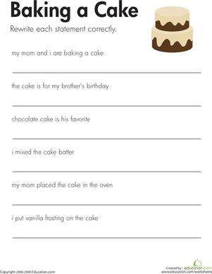 fix the sentences baking a cake facs punctuation worksheets 2nd grade worksheets school. Black Bedroom Furniture Sets. Home Design Ideas
