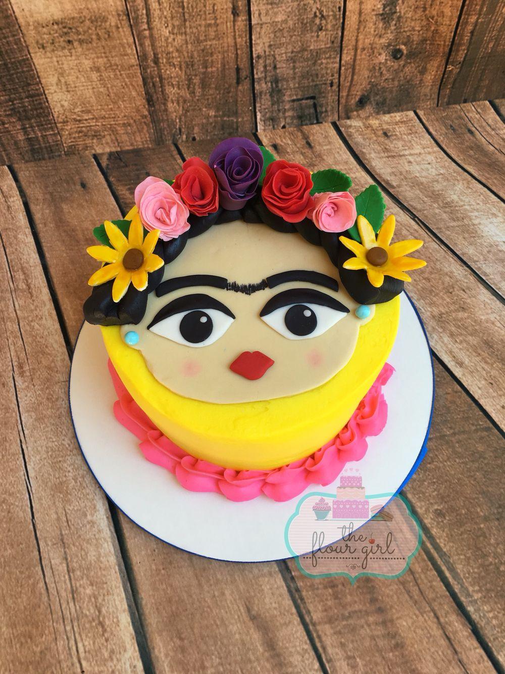 Frida Kahlo Buttercream Cake With Fondant Topper Flowers