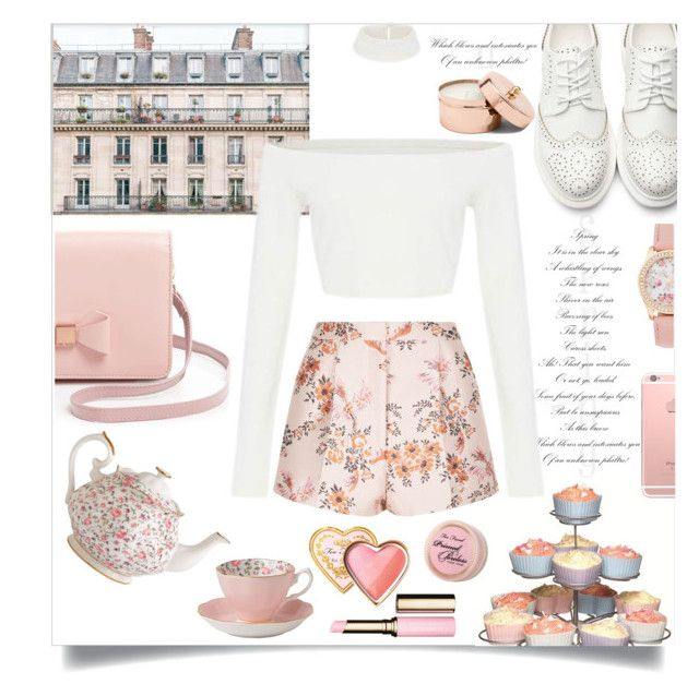 """""""bun-fight"""" by grodell ❤ liked on Polyvore featuring Ted Baker, Sweetly Does it, STELLA McCARTNEY, Royal Albert, Too Faced Cosmetics and Clarins"""