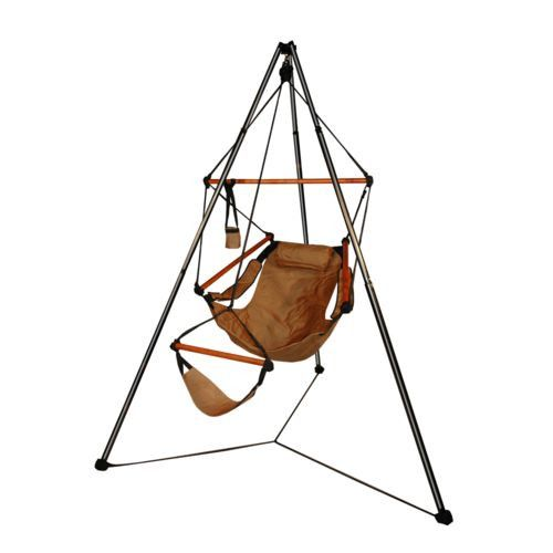 Tripod Stand and Tan Hammaka Chairs Combo - WD - The Hammaka Tripod Stand and Chair Set is the perfect portable solution to take leisure on the go! Whether you are camping, fishing or watching your child's soccer game, you can now go anywhere in comfort. At Home > Furniture > Outdoor Furniture > Hammocks. Weight: 20.00