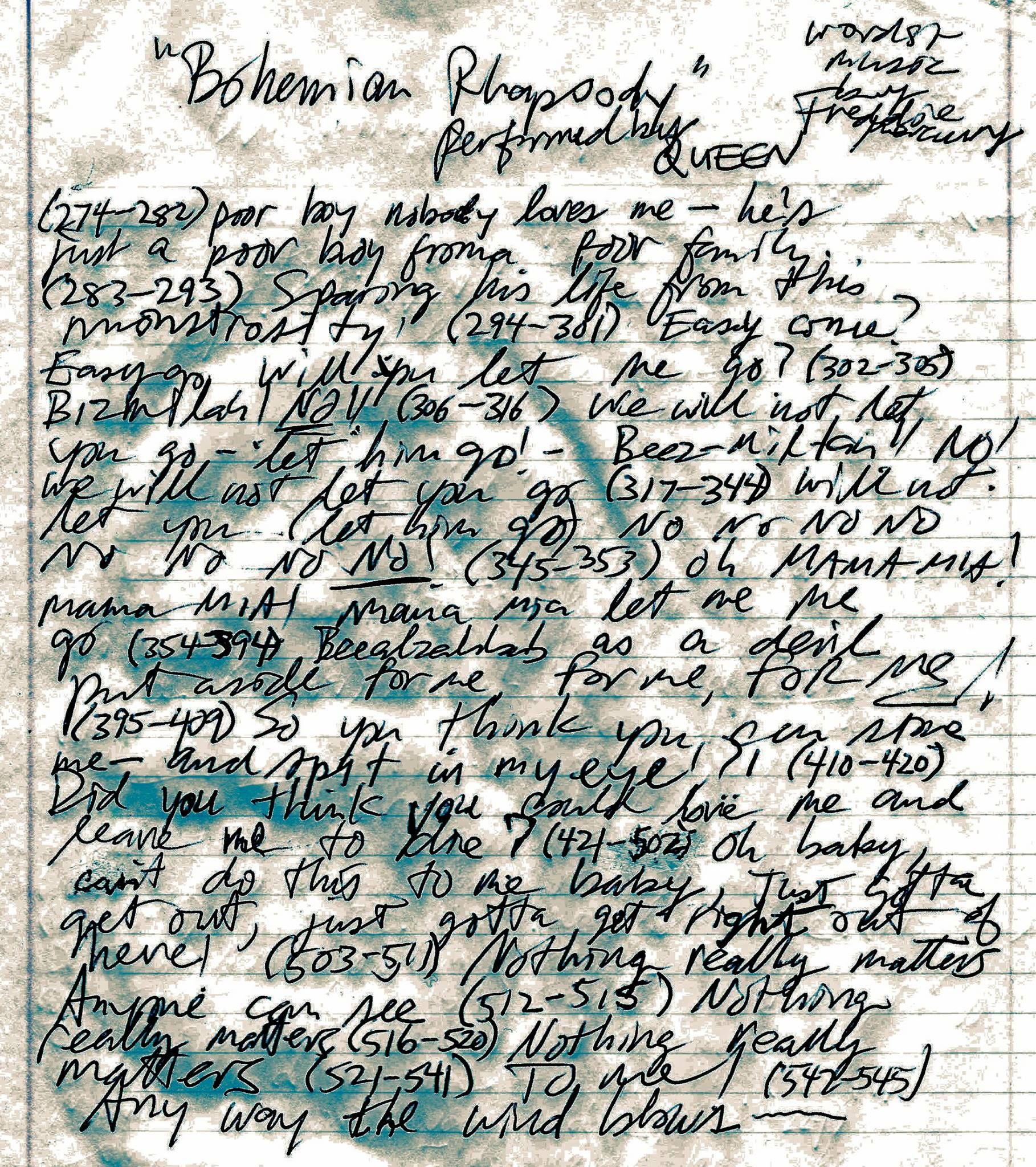 Freddie mercury's original lyrics and tape marks of ...