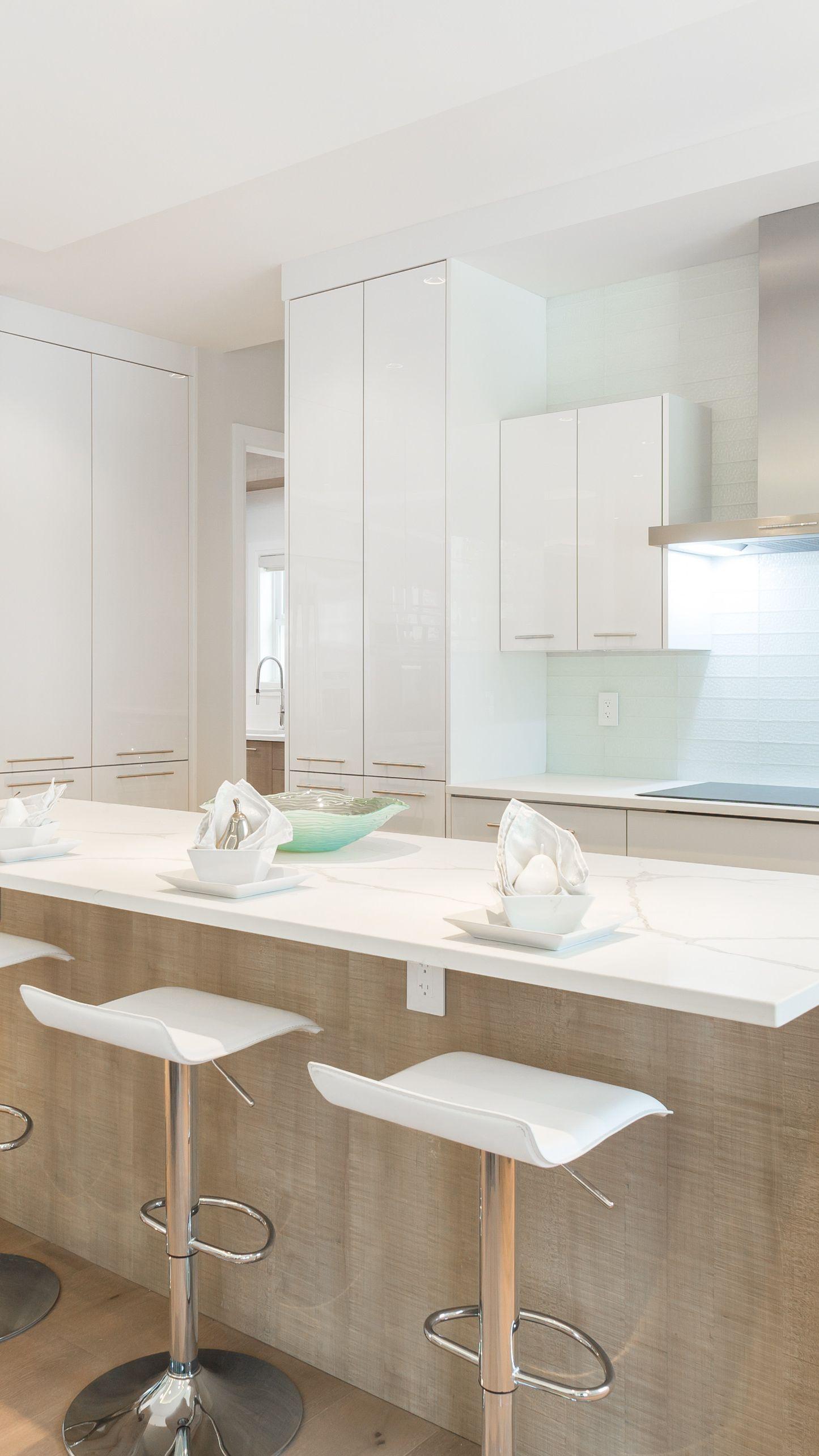 modern minimalist all white kitchen barstyle kitchen