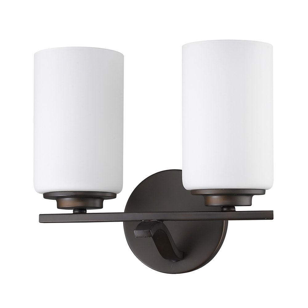 Photo of Acclaim Lighting Poydras 2-light indoor bathroom with glass shades made of oil-rubbed bronze