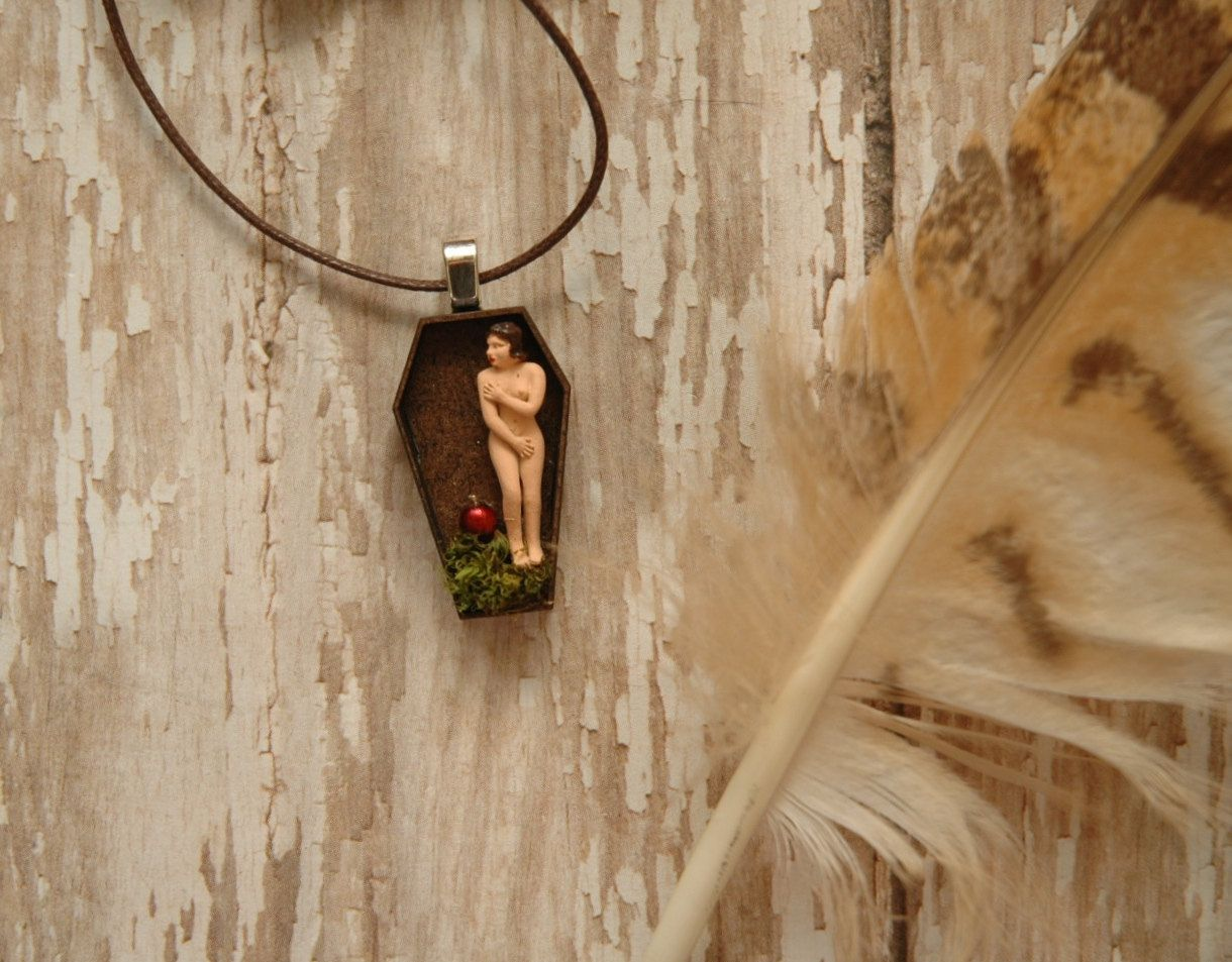 Nude Eve Garden of Eden Miniature Wooden Coffin Necklace | Religious ...