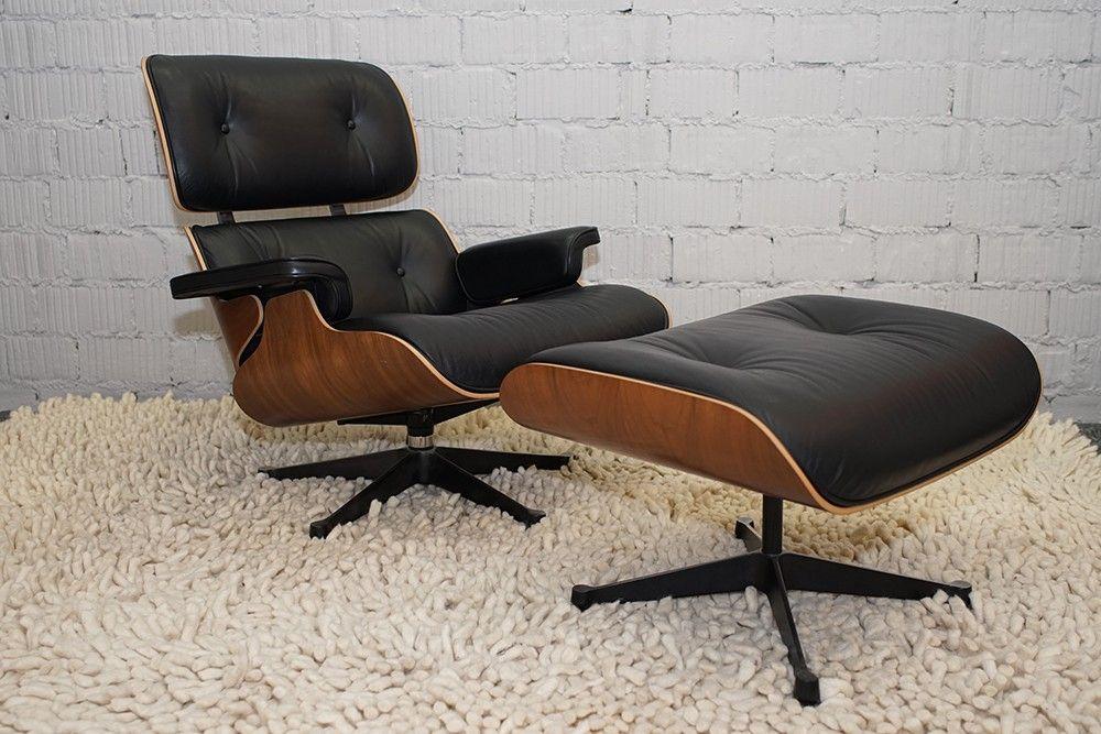 Vitra Lounge Chair Ottoman Nussbaum Schwarz Pigmentiert Neue Masse Eames Lounge Chair Lounge