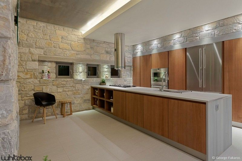 Stone House In Anavissos By Whitebox Architects Contemporary Kitchen Design Stone House Concrete House