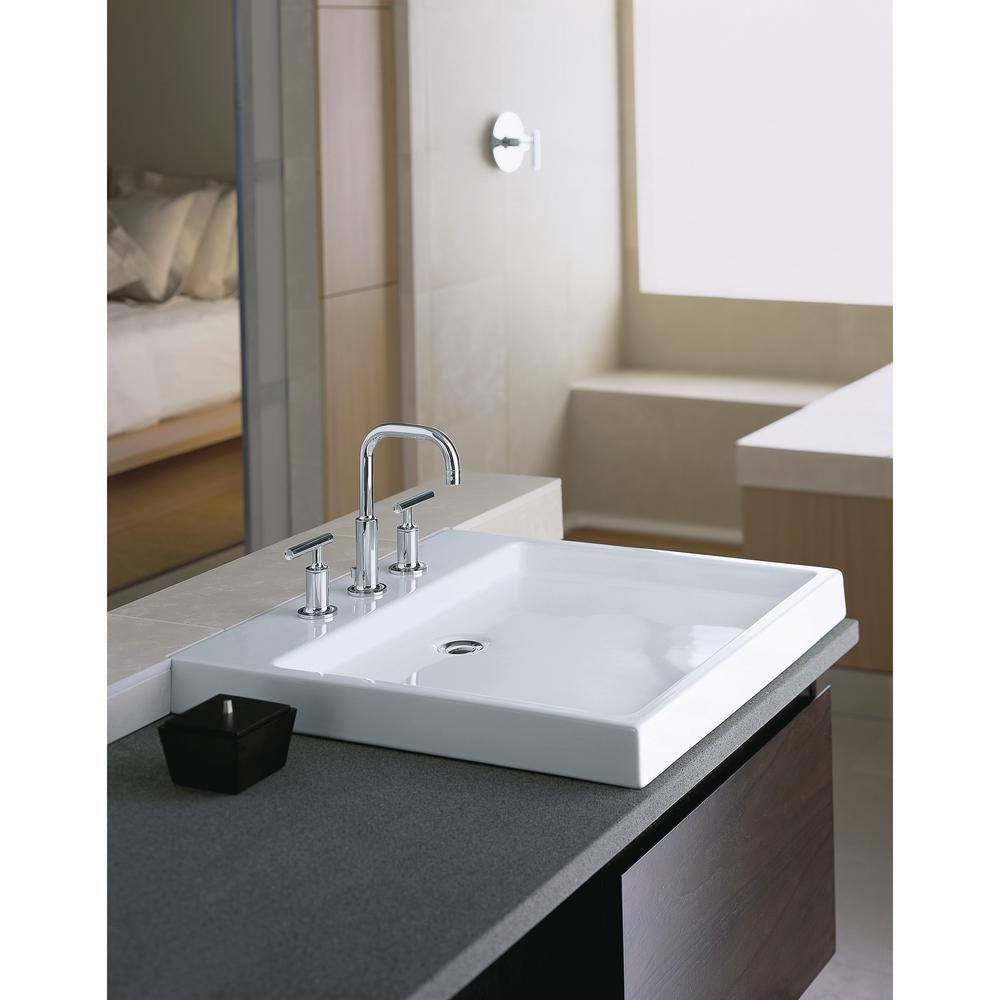 Kohler Purist Wading Pool Fireclay Vessel Sink In White K 2314 8 0 The Home Depot Bathroom Vanity Designs Large Bathroom Sink Large Bathrooms [ 1000 x 1000 Pixel ]