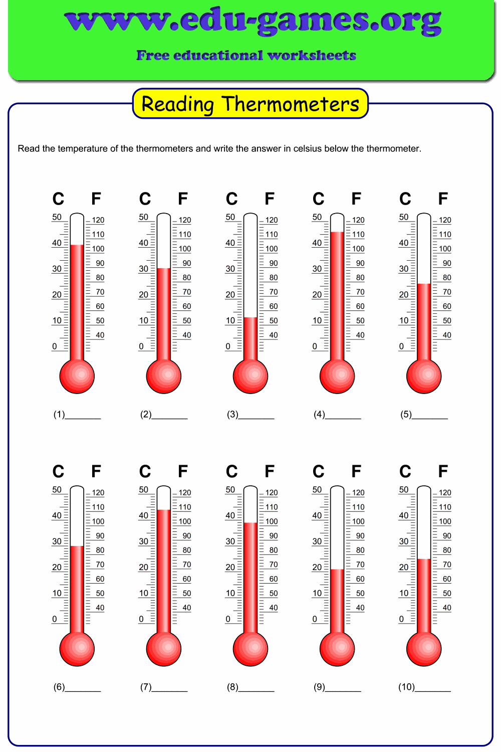 High Quality Reading Thermometers Worksheet With Many Options Celcius Or Fahrenheit Only Temperatures Ab Worksheets Reading Worksheets Educational Worksheets