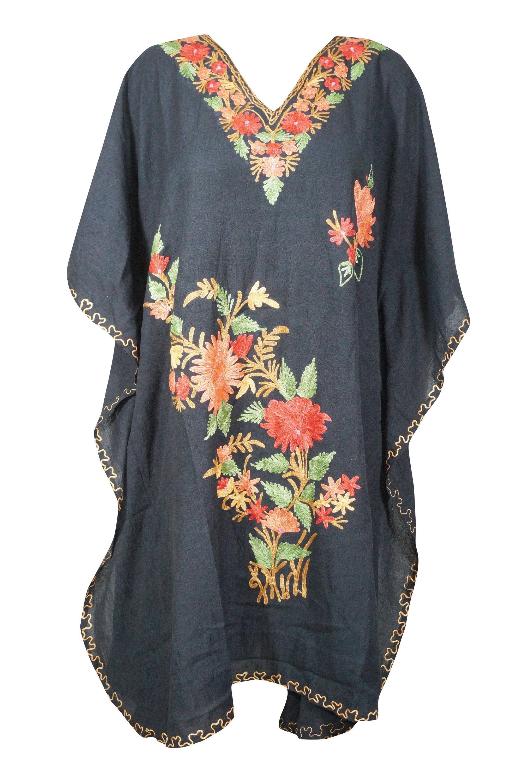 Boho Womens White Floral Caftan Loose Dress Cotton Embroidered Hippy Boho Gypsy  Kaftan Plus Size Resort Dress 3X