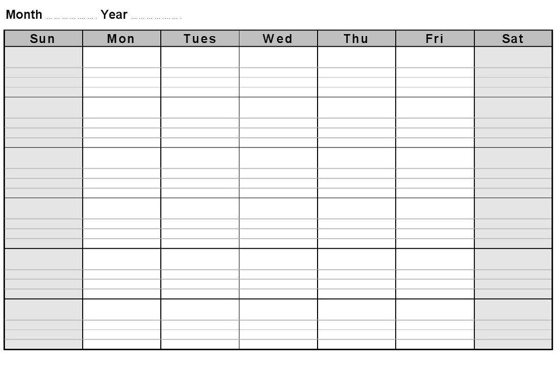 Printable Blank Monthly Calendars Calendar Template Printable
