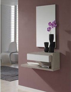 Craquez Pour Ce Meuble Du0027entrée Très Moderne De Coloris Wengé, Avec Du0027autres  Teintes Possibles. Vous Pouvez également Choisir Le Miroir Assorti !