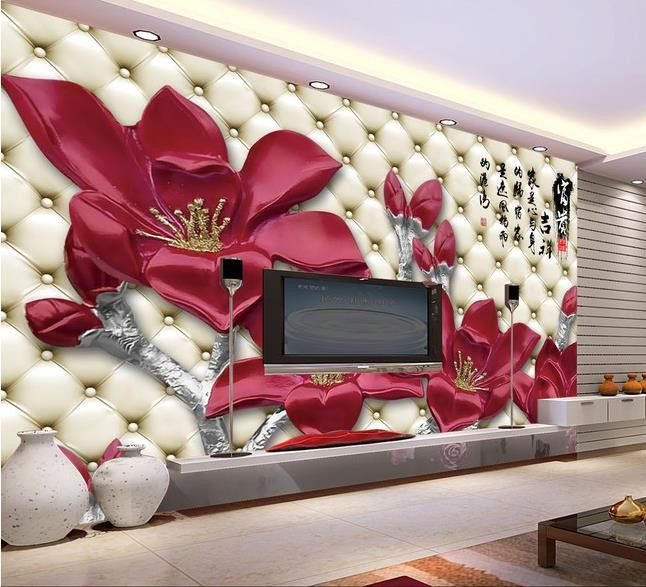 Mural 3d Magnolia Flower Sofa Murals Flower Mural Bedroom Wall Paint Floral Wallpaper