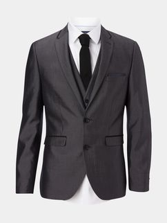 3 Piece Slim Fit Grey Textured Tipped Suit