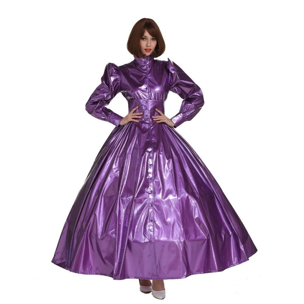 French Style PVC Sissy Maid Lockable Long Dress Costume Crossdress