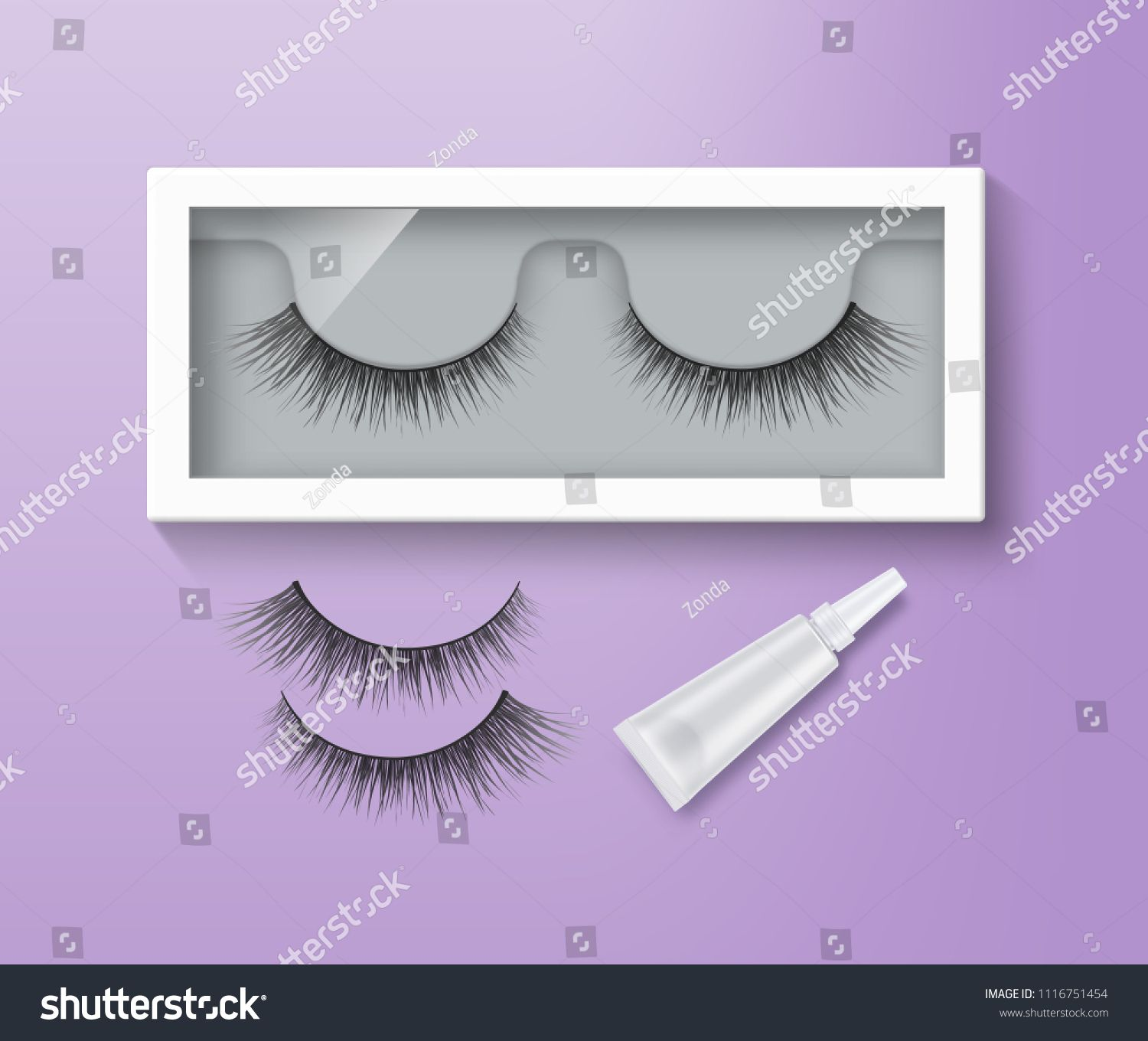 5ca177d7d6e Vector illustration of false eyelashes in packaging and glue tube. Pair of black  long lashes on purple background eyelashes#packaging#glue#Vector