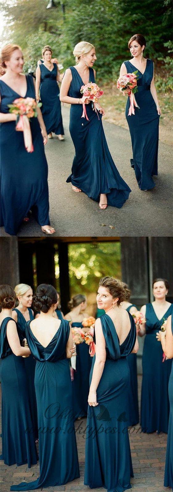 T-length lace wedding dresses november 2018 Simple Plus Size V Neck Cheap Teal Sheath Long Bridesmaid Dresses