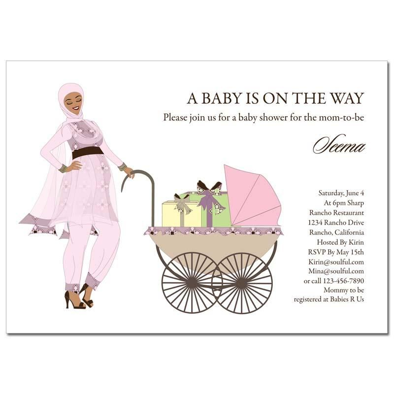 Indian Baby Shower Invitations - Hijab Buggy   Bollywood baby shower ...