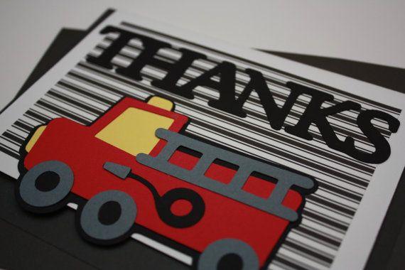 Handmade Fire Truck Thank You Card - Thank You & Matching Envelope - Fireman Birthday Party Decor - Dalmatian Dog - Fireman Celebration Card...