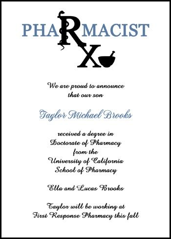 Discounted School of Pharmacy Graduation Announcements and - best of formal invitation for opening ceremony