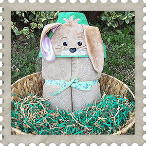 Easter Bunny Hooded Towel Design Embroidery Applique Holiday