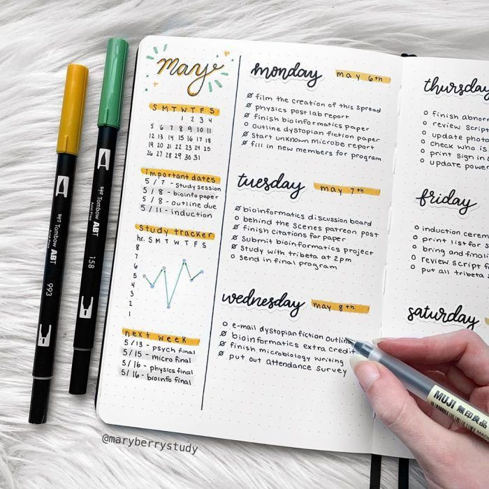 Bullet Journal Weekly Spread: 126 Layout Ideas You Need To Try - Inspiring Sunday