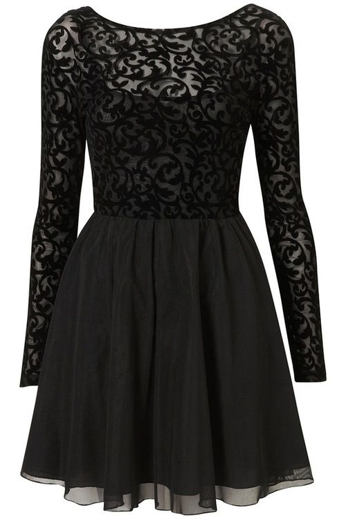 Short Black Dress With Long Sleeve Lace Top Half Beautiful Dress