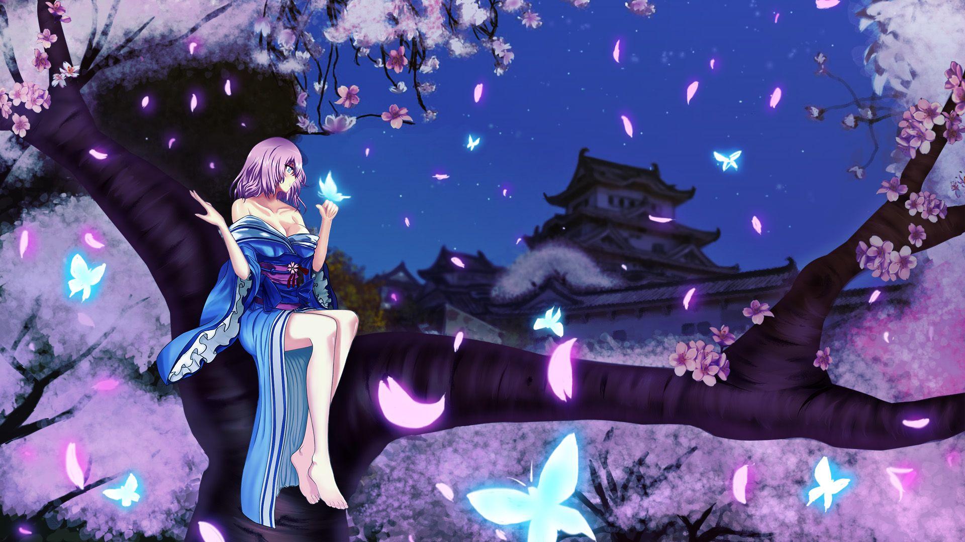 Video GamesTouhou Games Touhou Cherry Blossoms Flowers Blue Eyes Cleavage Kimono Purple Hair Saigyouji Yuyuko J Butterflies Wallpapers Free