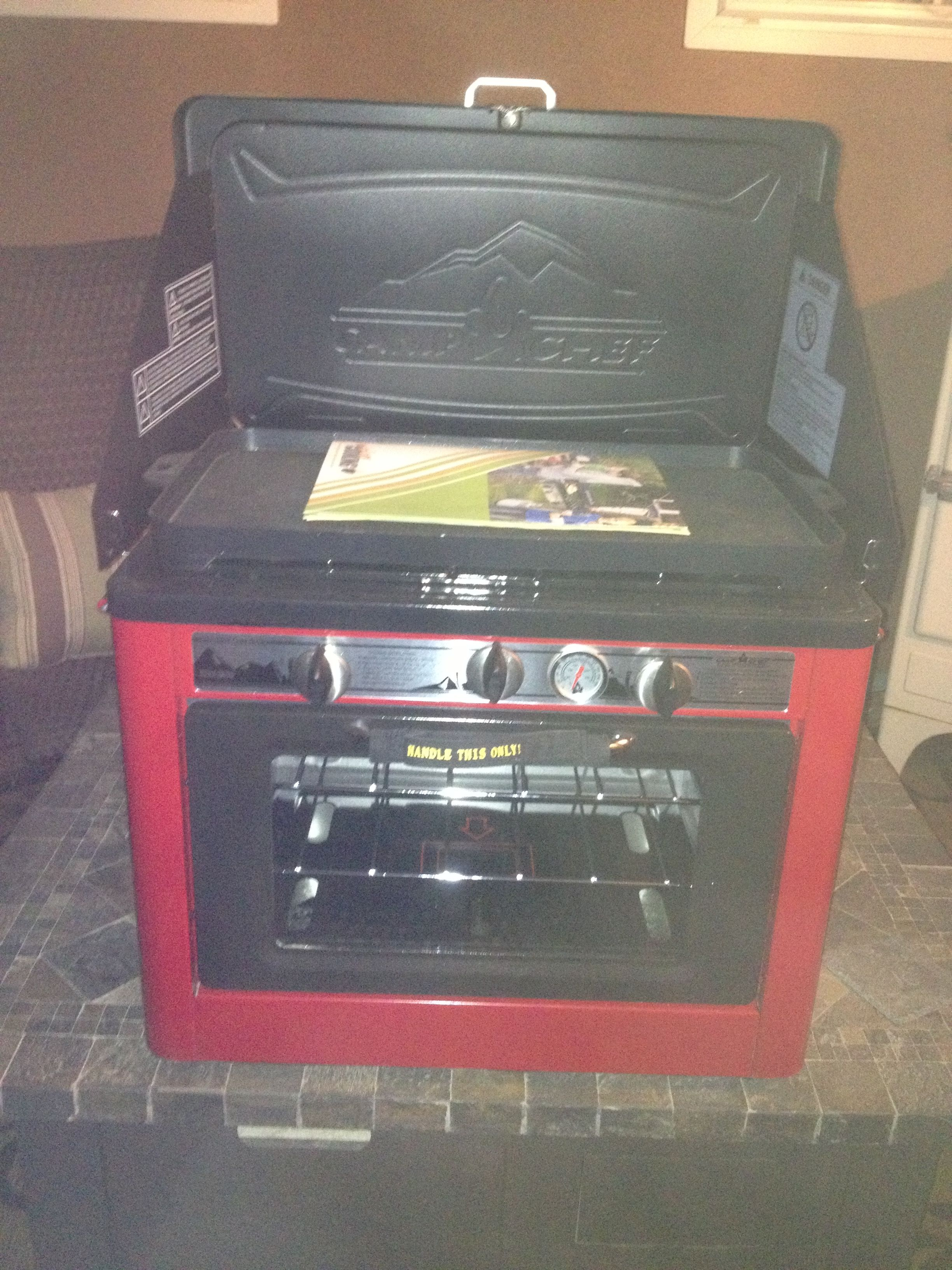 My new camping toy now I can bake cookies in my oven while I am camping all is good