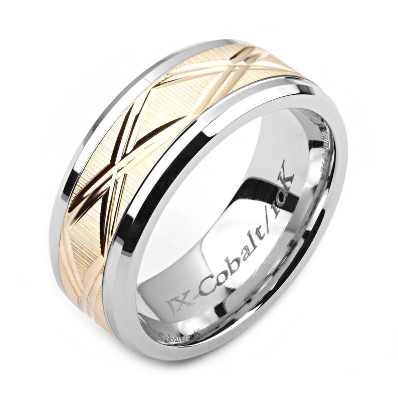 Men's Cobalt Ring 8mm Wide TwoTone Cobalt & 14K Yellow