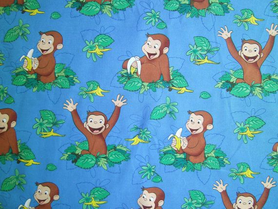 1 Yard Hungry Curious George Fabric To Sew By Quiltgirls